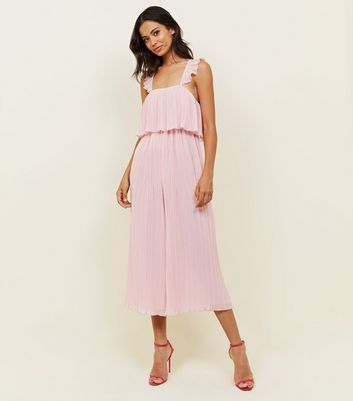 Pale Pink Pleated Chiffon Party Jumpsuit by New Look