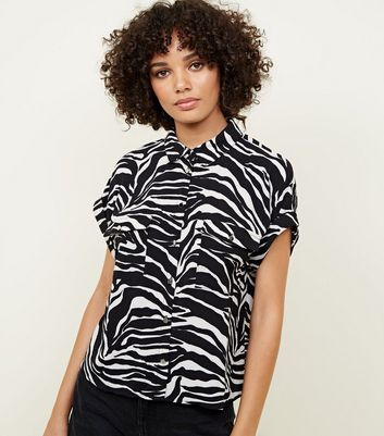Black Zebra Print Rolled Sleeve Shirt