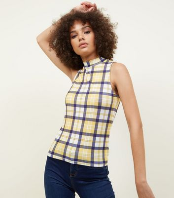 Yellow Check Funnel Neck Top