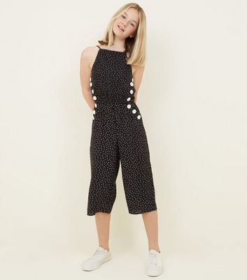 Girls Black Spot Print Button Side Jumpsuit