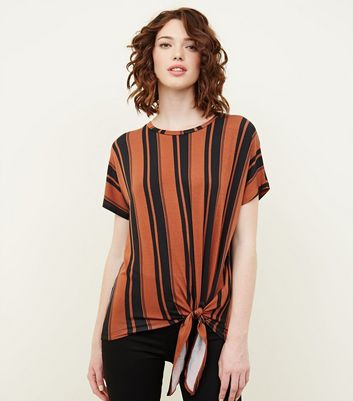 Rust Stripe Side Tie T-Shirt