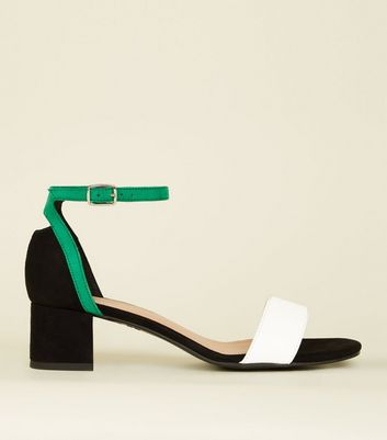 Girls Black Suedette Colour Block Low Heel Sandals by New Look
