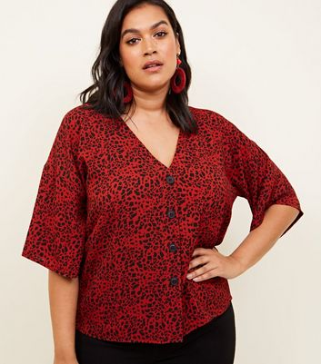 Curves Red Leopard Print Boxy Shirt