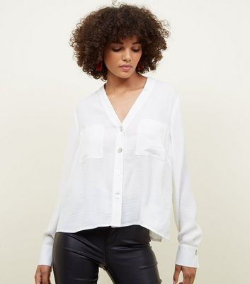 White Crepe Metallic Button V-Neck Shirt