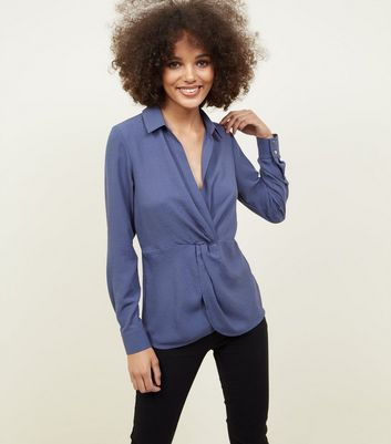 Navy Twist Front Button Cuff Shirt
