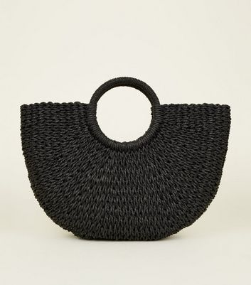 Black Plain Straw Basket Bag