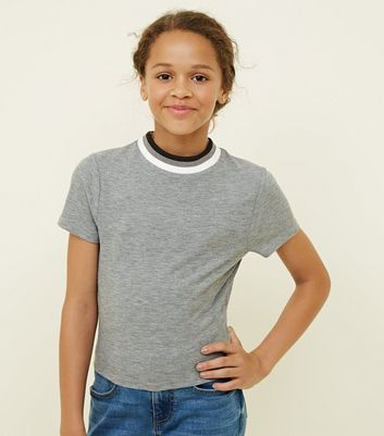 Girls Grey Marl Ribbed Glitter Crew Neck T-Shirt