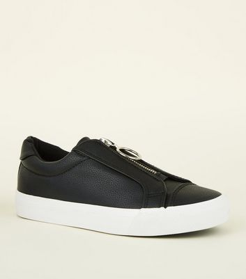 Girls Black Leather Look Ring Zip Trainers by New Look