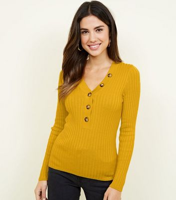 Mustard Ribbed Button Front Jumper