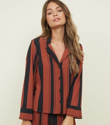 Rust Stripe Collared Button Front Shirt