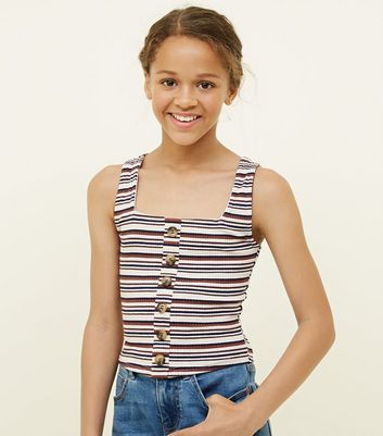 Girls Brown Stripe Ribbed Button Front Vest