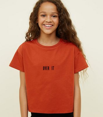 Girls Orange Over It Slogan T-Shirt