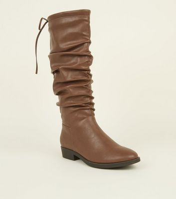 Tan Slouchy Knee Length Boots by New Look