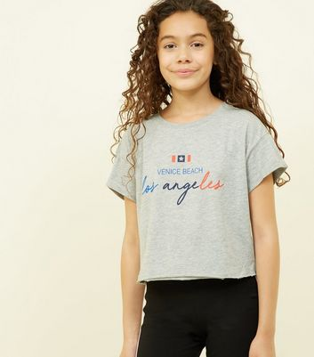 Girls Grey Marl Los Angeles Slogan T-Shirt