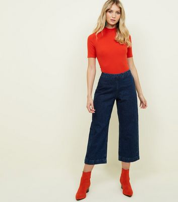 Blue Rinse Wash Wide Leg Jeans
