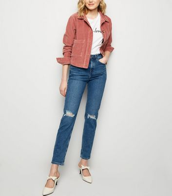 Blue Ripped Knee Tori Mom Jeans