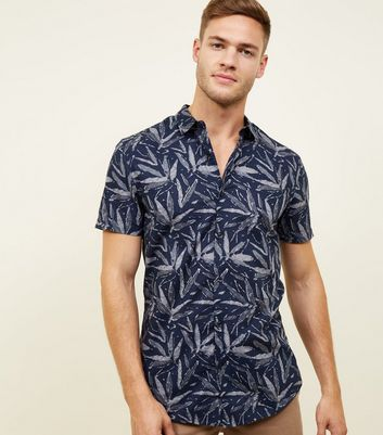 Navy Leaf Print Short Sleeve Shirt