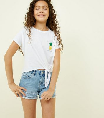 Girls White Messy Hair Pineapple Slogan T-Shirt