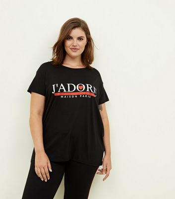 Curves Black J'Adore Slogan T-Shirt