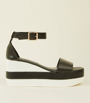 Black Contrast Platform Wedge Sandals