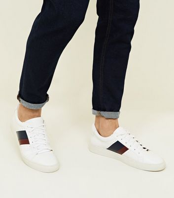 White Side Stripe Perforated Trainers