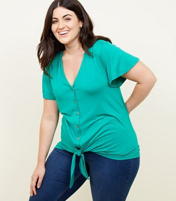 Curves Green Button Tie Front T-Shirt
