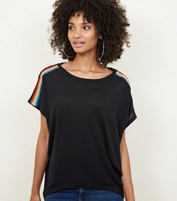 Blue Vanilla Black Rainbow Tape Oversized Top