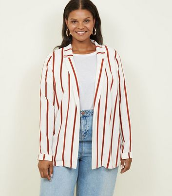 Curves White Stripe Revere Collar Blazer