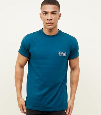 Teal California Embroidered T-Shirt