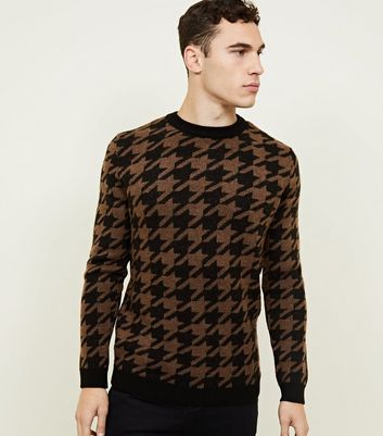 Rust Houndstooth Check Crew Neck Jumper