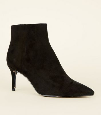 Black Suedette Leopard Print Sole Pointed Heel Boots by New Look