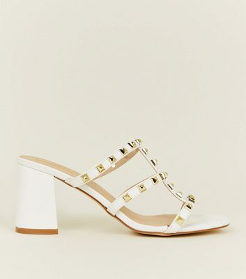White Studded Block Heel Mules