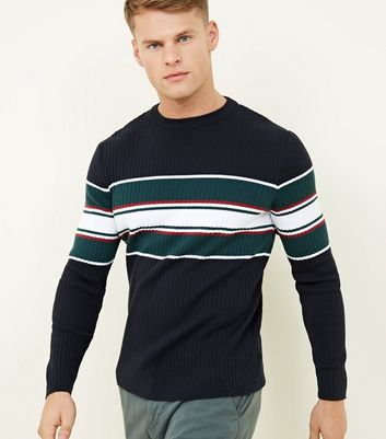 Navy Ribbed Colour Block Crew Neck Jumper