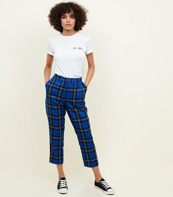 Blue Tartan Check Slim Leg Trousers