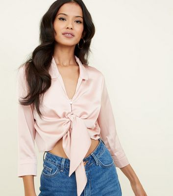 Cameo Rose Pale Pink Satin Tie Front Blouse