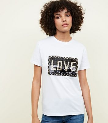Cameo Rose White Sequin Love Slogan T-Shirt