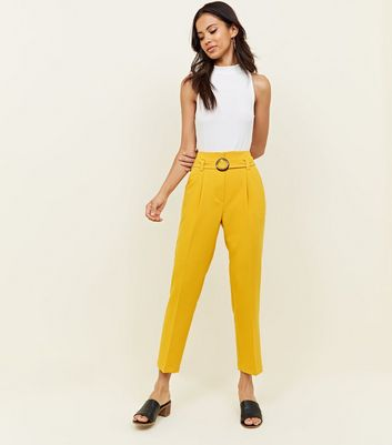 Yellow High Waist Belted Buckle Trousers