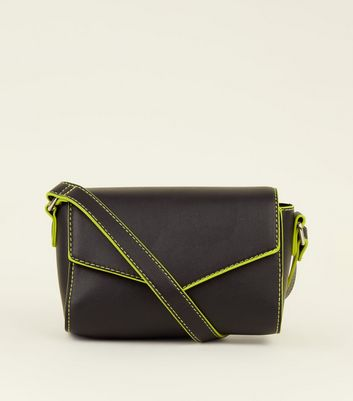 Black Neon Trim Cross Body Bag