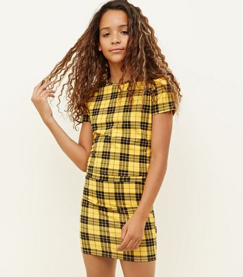 Girls Yellow Check Tube Skirt