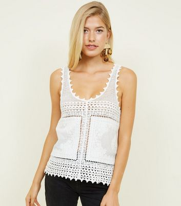 White Crochet Sleeveless Top