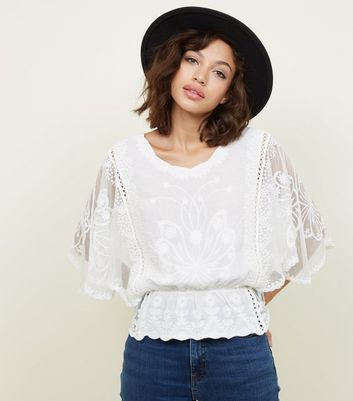 White Embroidered Sheer Angel Sleeve Top