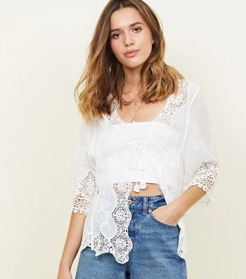 White Tie Front Crochet Cover-Up