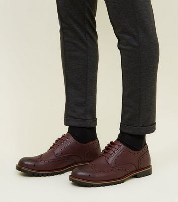 Burgundy Cleated Sole Brogue Formal Shoes