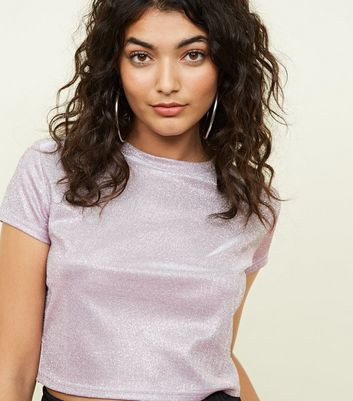 Cameo Rose Lilac Glitter Crop Top