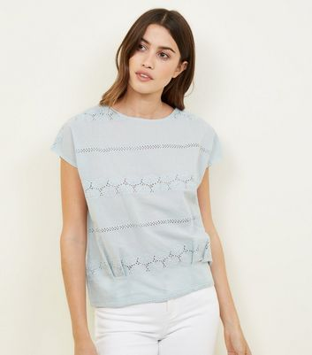 Apricot Mint Green Broderie Lace Top