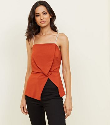 Rust Asymmetric Diamanté Strap Party Top