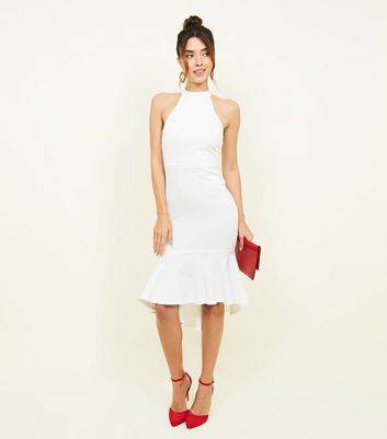 White High Neck Peplum Hem Party Dress by New Look