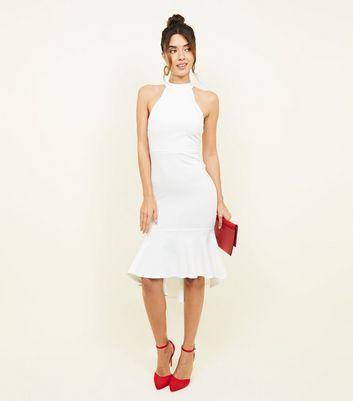 White High Neck Peplum Hem Party Dress by New Look