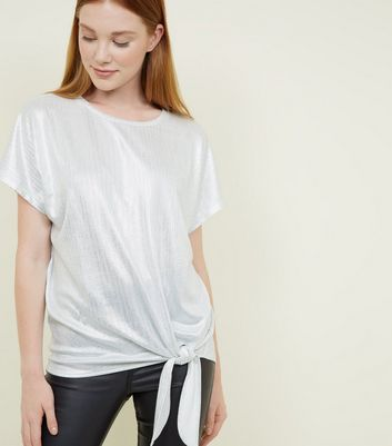 Silver Metallic Stripe Tie Side T-Shirt