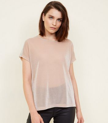Pink Glitter Sequin Stripe Shoulder T-Shirt